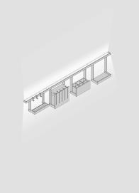 Light rail with glass shelf